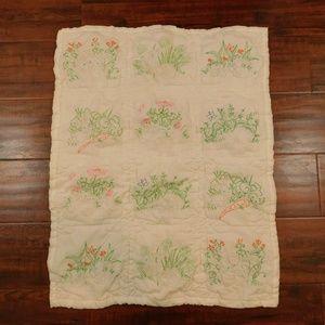 Vintage Baby Quilt/Blanket Bunny Rabbit Scenes